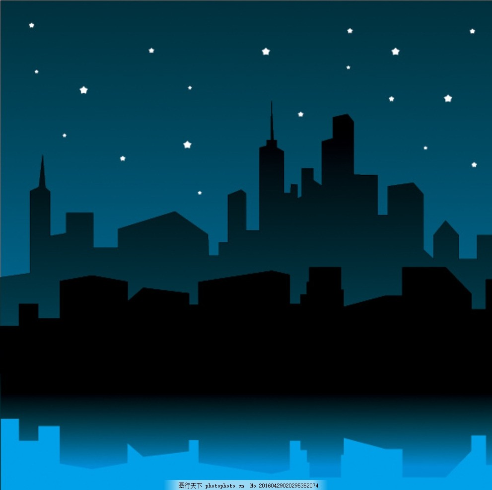夜晚城市剪影 星空 剪纸 矢量图
