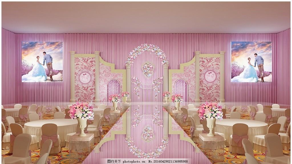 粉色婚宴效果图 婚礼 婚礼设计 主题婚礼 婚庆 婚礼素材 结婚