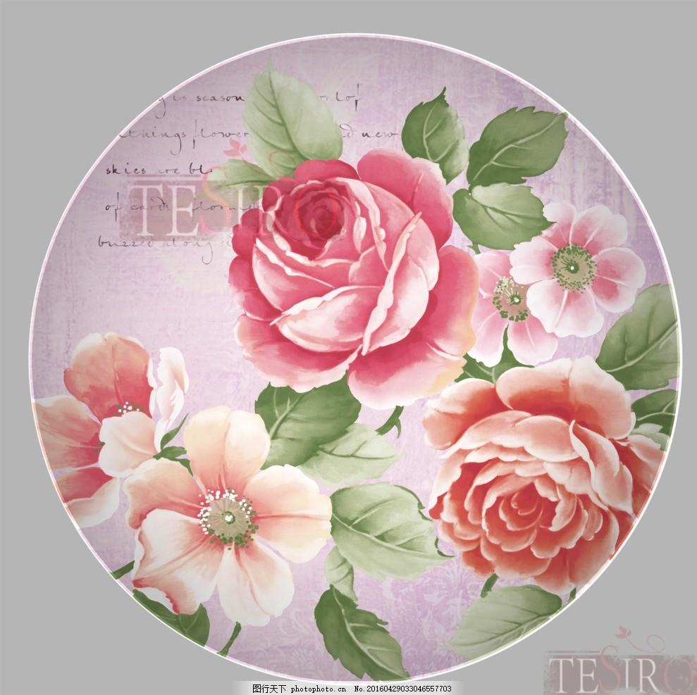 盘花 碟好 手绘花 陶瓷花 边花 位图 psd 仿古 花朵 盘碟贴花 设计 ps