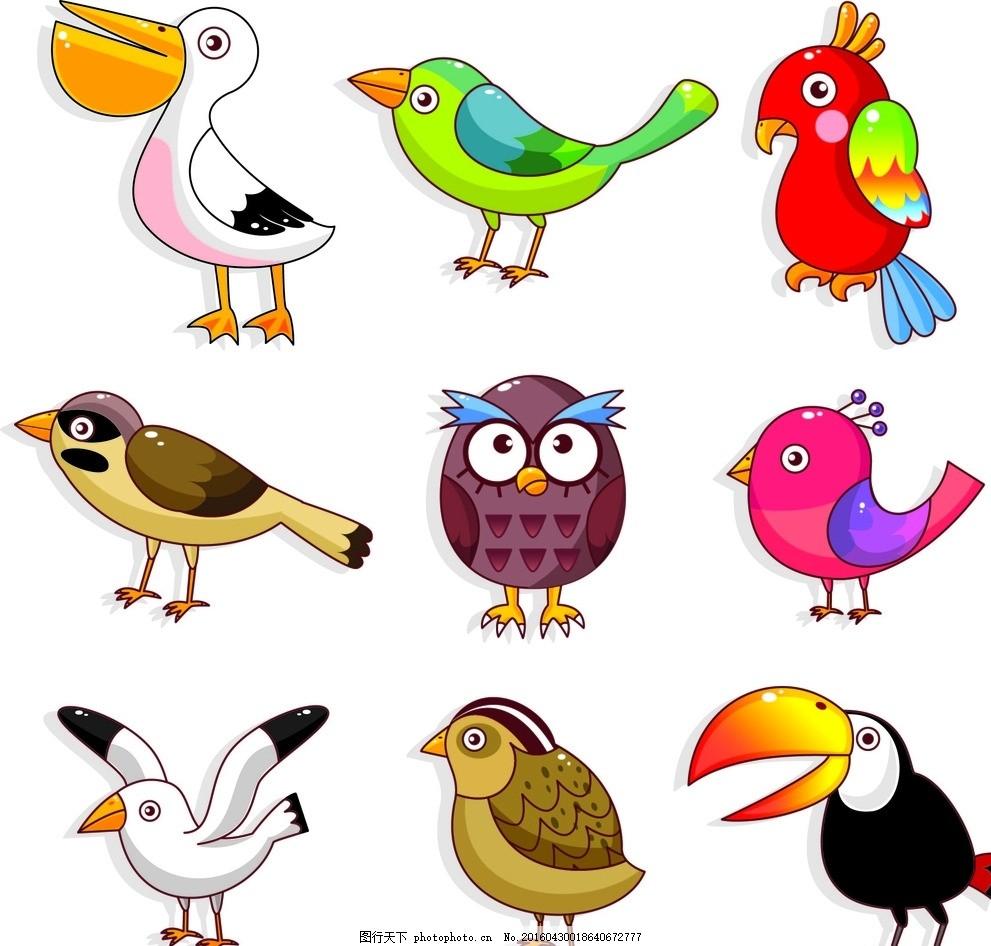矢量卡通动物 小鸟 猫头鹰 平面设计 可爱 海鸥 鹦鹉 鸭子 大鸟