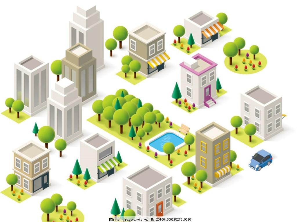 立体小区建筑群设计矢量图 人工湖 树林 小区 建筑 商铺 车辆 楼房