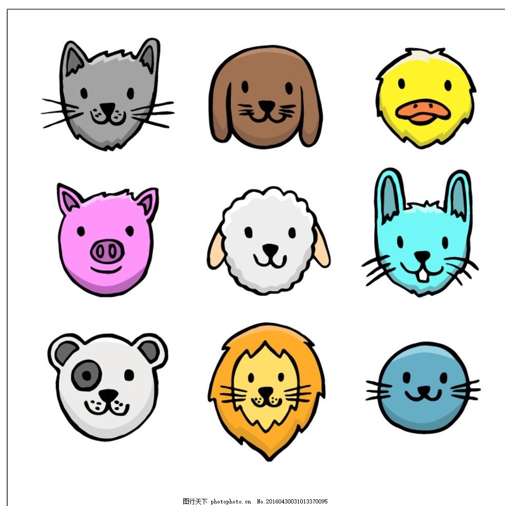 设计图库 广告设计 其他  手绘动物头像 手 狗 自然 猫 动物 狮子