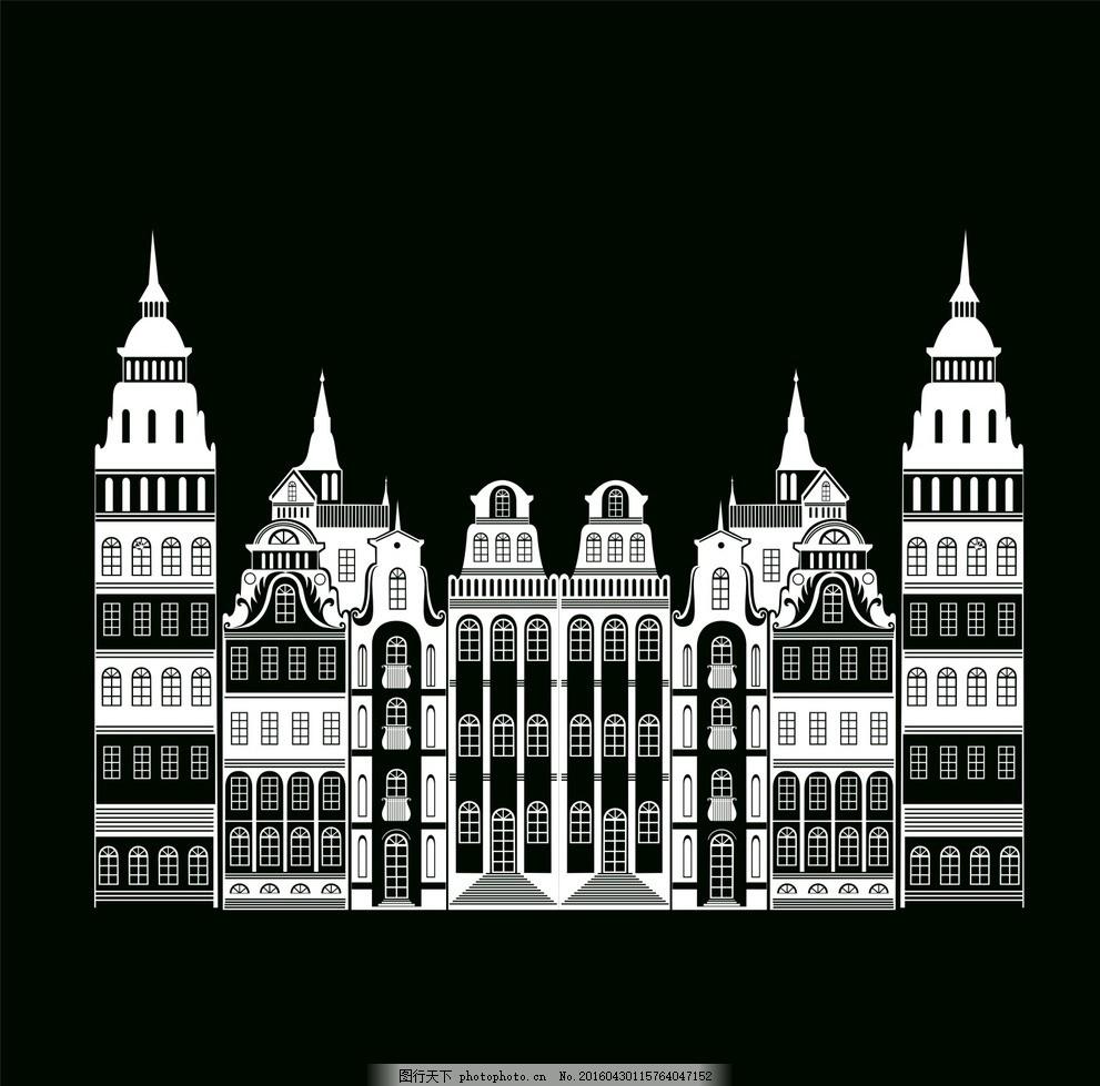房子线稿 线稿 楼房 大厦 建筑 剪影素材 手绘 线描 设计 广告设计