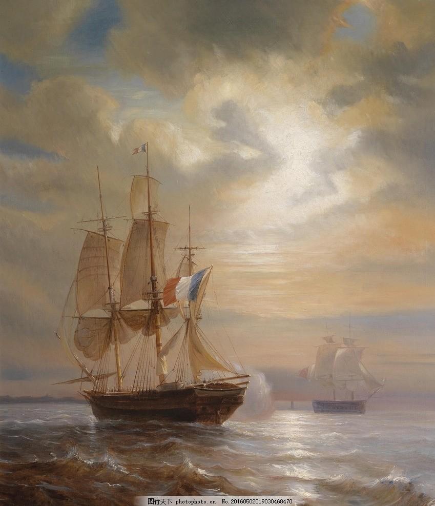 欧洲帆船大海油画图片