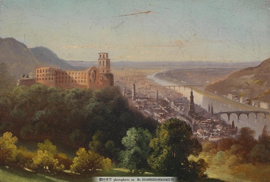 欧洲风景油画 美术 油画 风景 溪流 树木 秋林 房屋 油画作品 设计