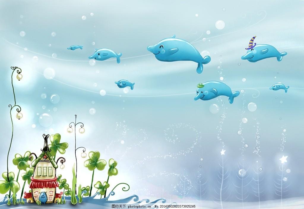 海豚壁纸 图片下载 海豚 海浪 绿色花边 设计 底纹边框 花边花纹 250