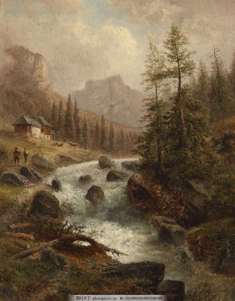 欧洲小溪风景油画