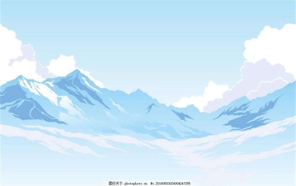 山脉湖泊景色 几何山脉 立体山脉 雪山风景 湖泊 湖面 风景 山峰 美景