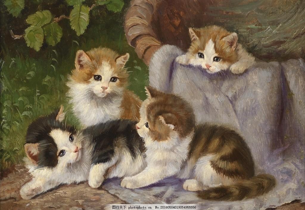 欧洲动物小猫油画