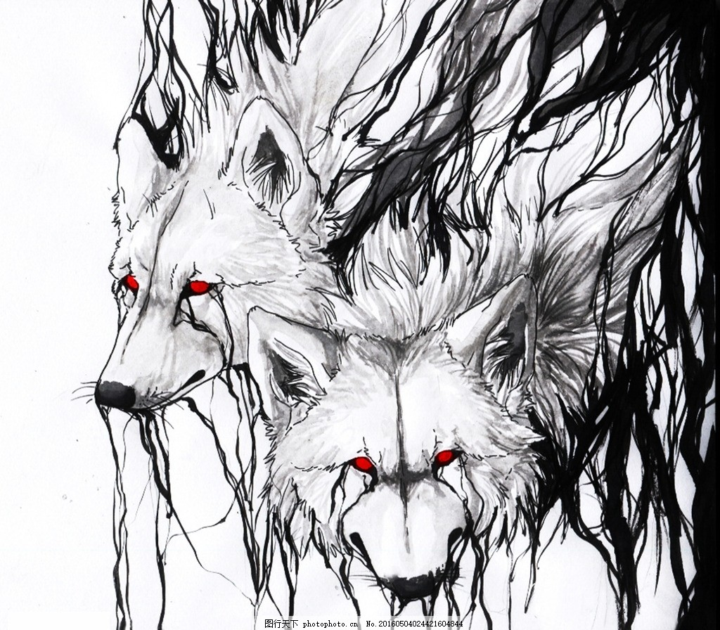 梦幻的狼族 抽象 狼头 水墨画 背景 动物世界