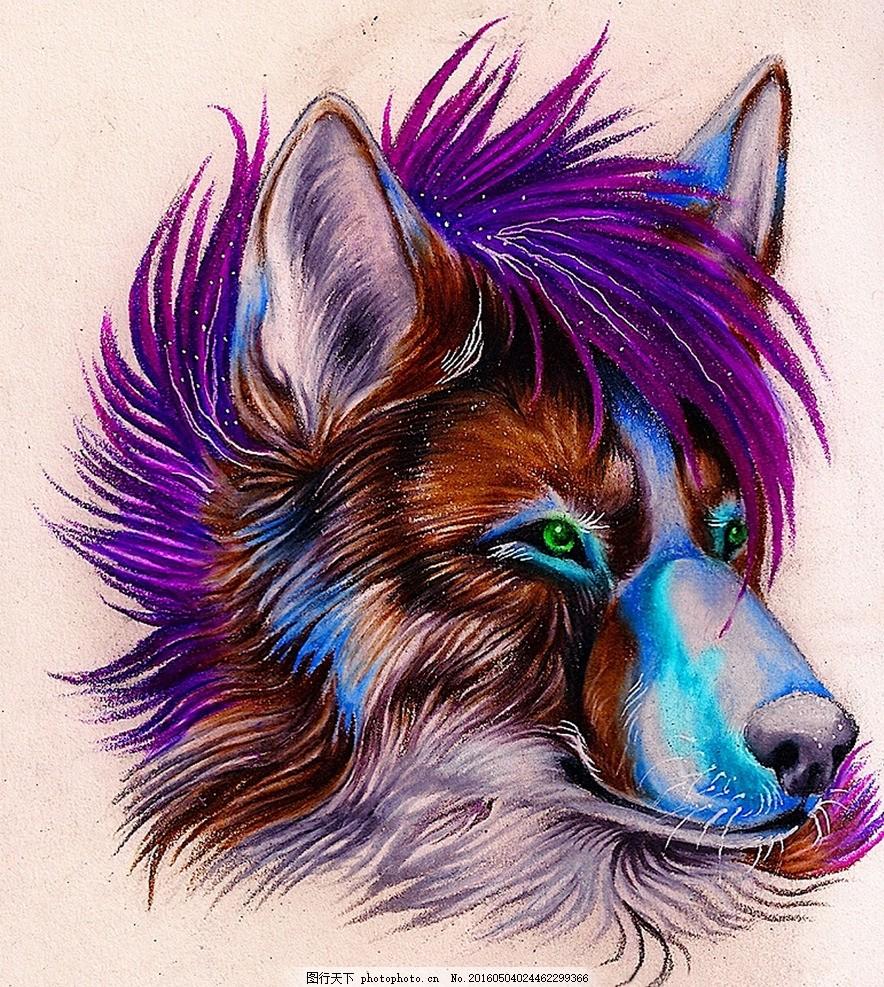 梦幻的狼族 狼 狼头 水彩画 背景 野生动物 生物世界 动物世界 300dpi