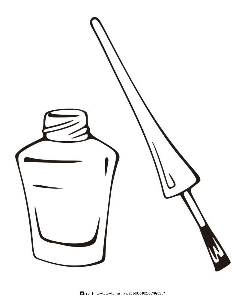 指甲油 美妆 简单画 线条 线描 简笔画 黑白画 卡通 手绘 标志图标图片