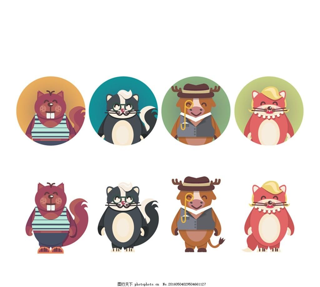 卡通动物和头像矢量图 海獭 牛 狐狸 浣熊 海狸 松鼠