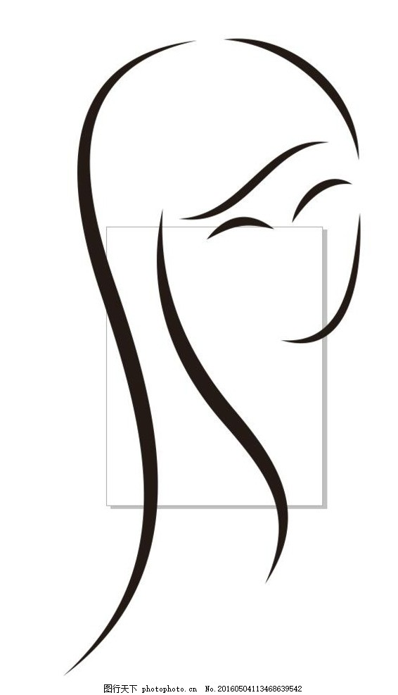 人物线描 女人 美女 长发 人物头像 简笔画 线条 线描 简画 黑白画