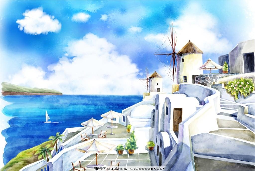 卡通画海边的城市
