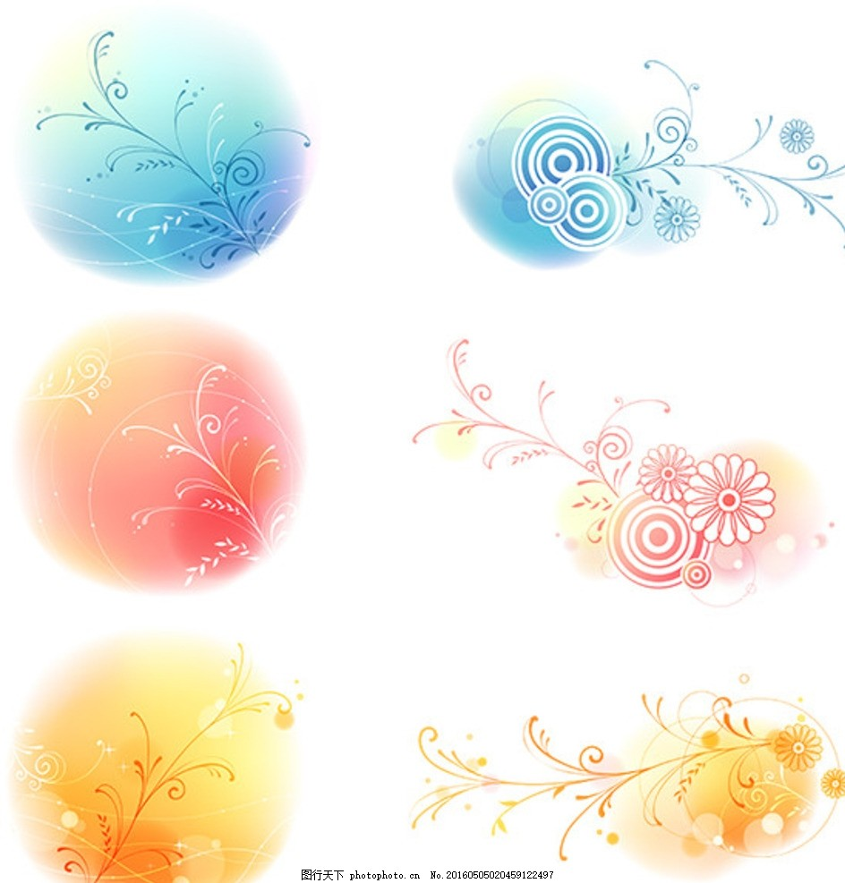 圆形花饰 圆形素材 花饰素材 矢量花饰 矢量素材