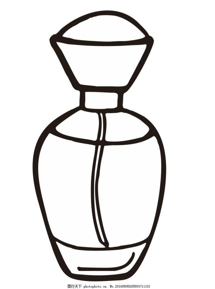 香水 香水瓶 简单画 线条 线描 简笔画 黑白画 卡通 手绘 标志图标