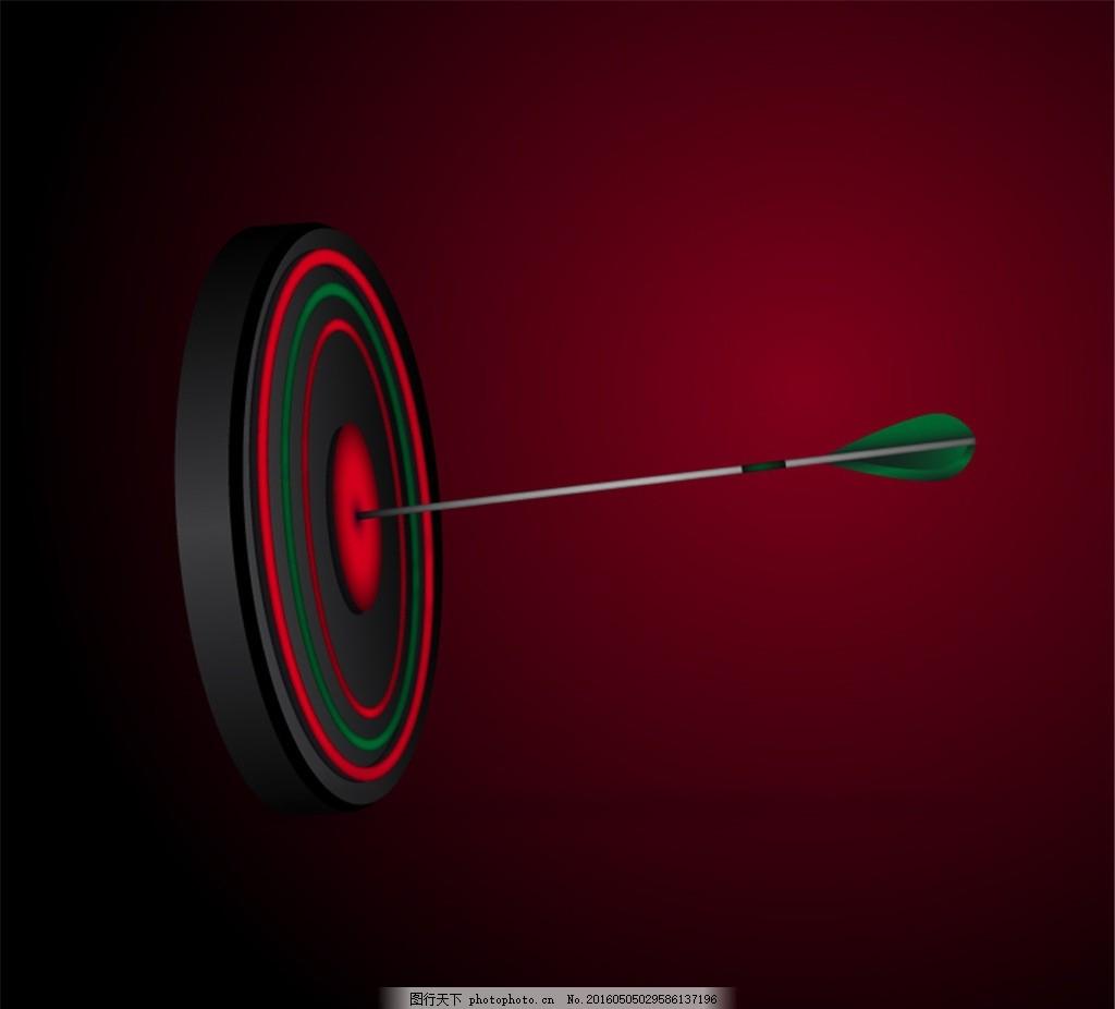 射中的箭靶设计矢量图 成功 靶心 目标