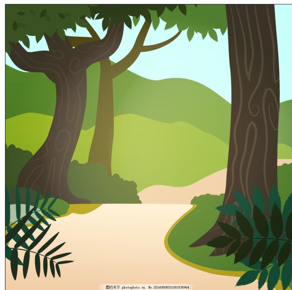 手绘树木 山水 花卉 背景 绿色 树叶 树木 绘画 自然 环境 山区的道路