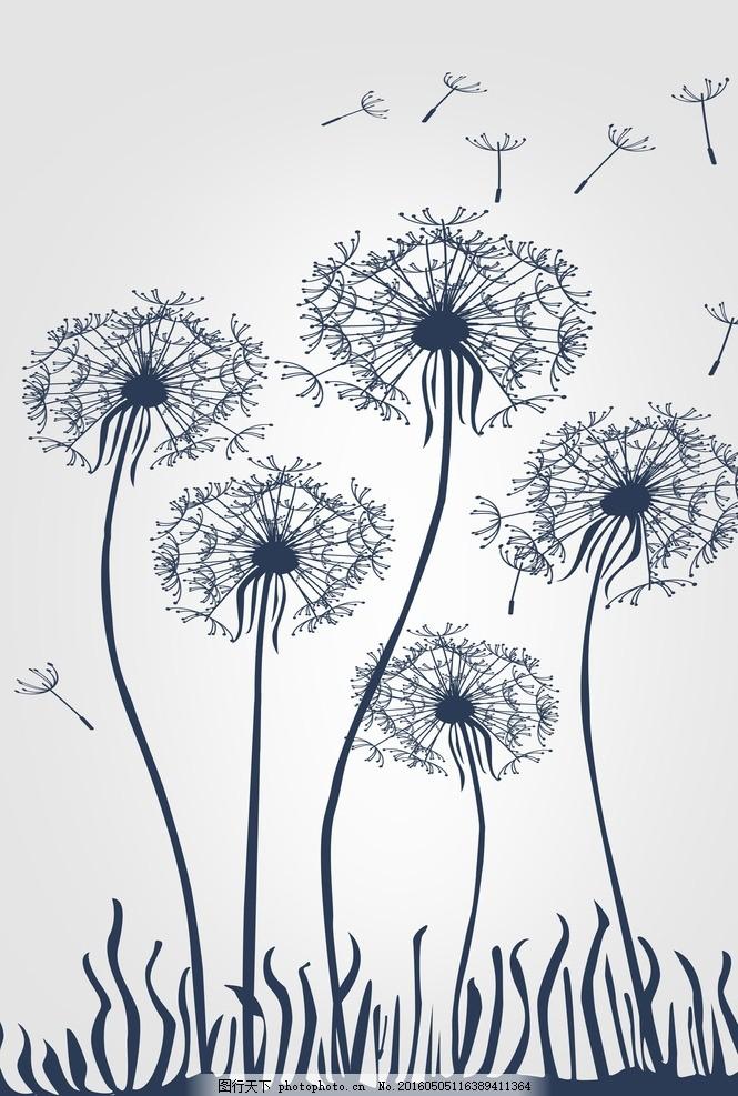 移门图案 蒲公英 花朵 花纹 广告设计
