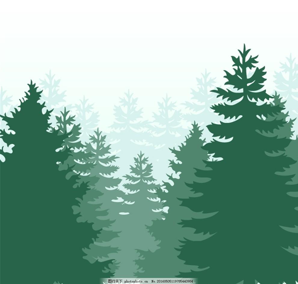 绿色森林剪影矢量素材 松树 树木 矢量图 广告设计