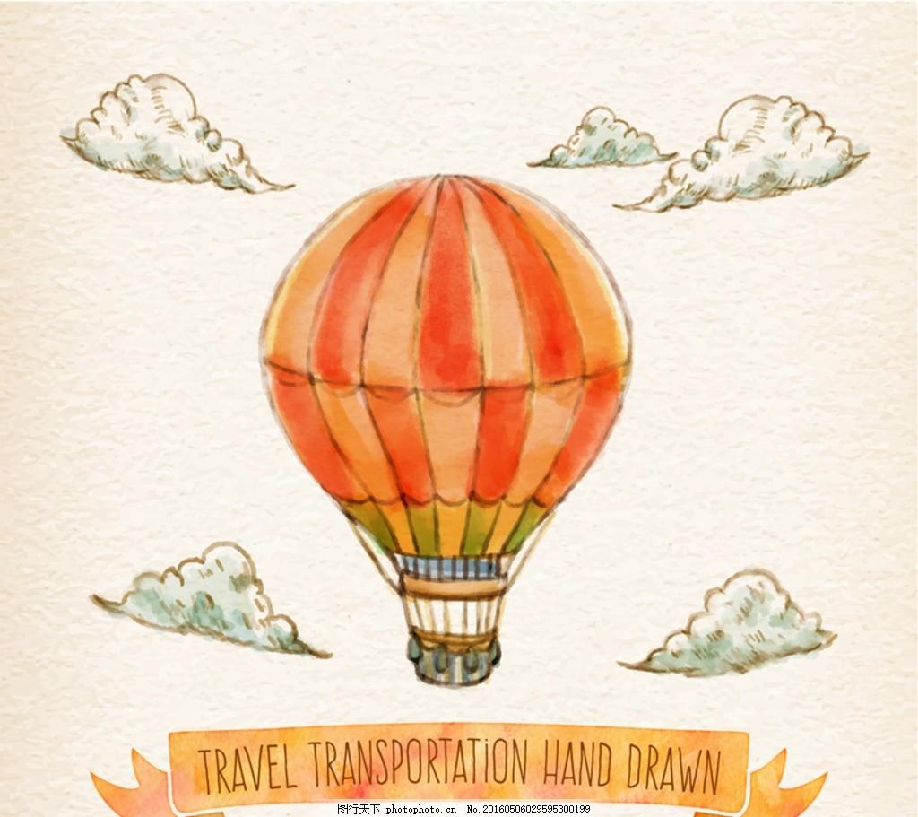矢量热气球 水彩热气球 彩绘热气球 条纹热气球