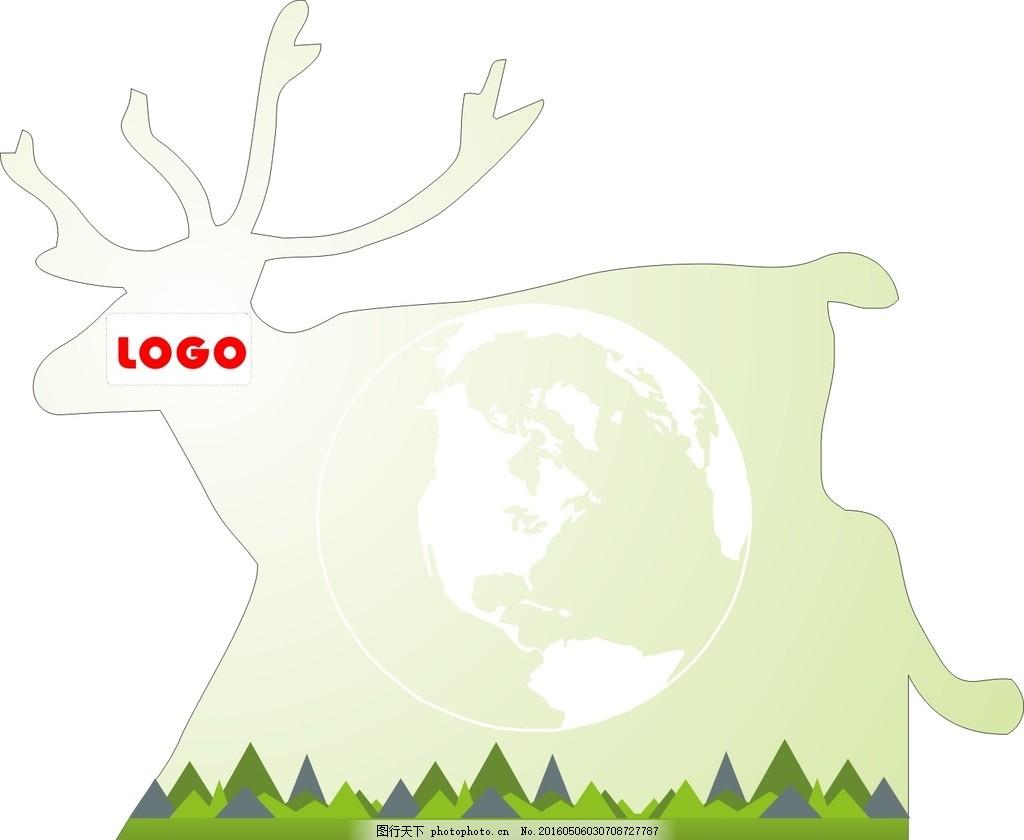 动物背景墙 动物 梅花鹿 鹿 小鹿 森林 大自然 山 矢量图 地球仪 异形