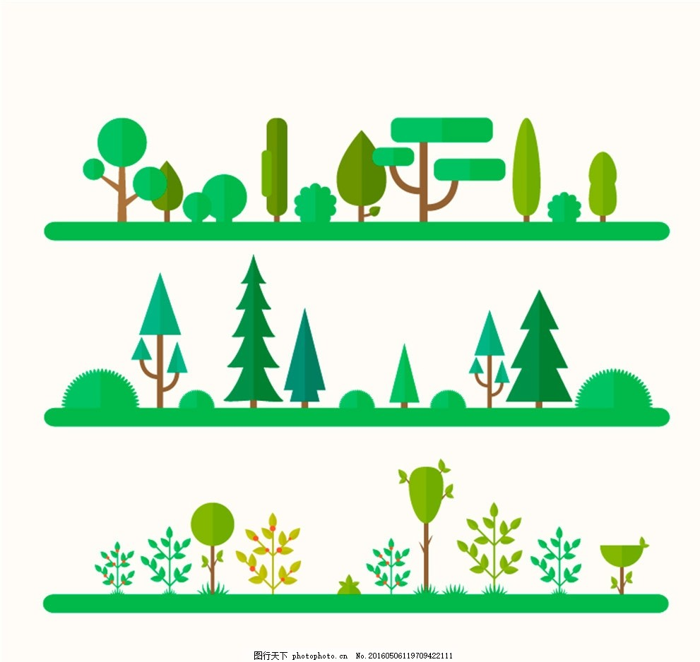 自然树木风景矢量图 绿地 森林 草地 扁平化 松树 灌木 广告设计
