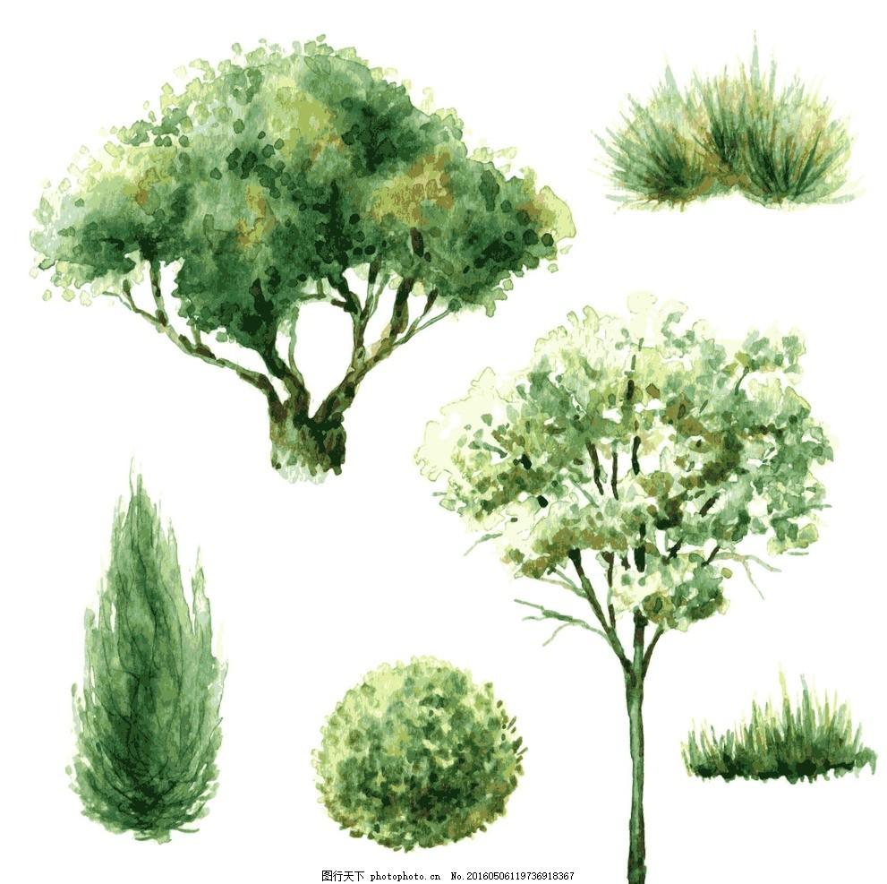 水彩树木 灌木丛 秋天 喷溅 彩绘树 手绘树 广告设计