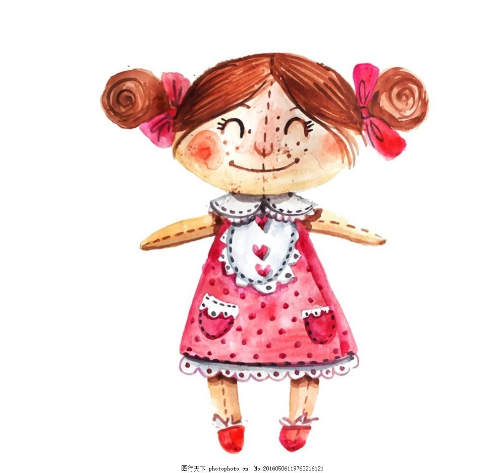 洋娃娃 布娃娃 可爱 玩偶 女孩 女生 彩绘 玩具 手绘 插画