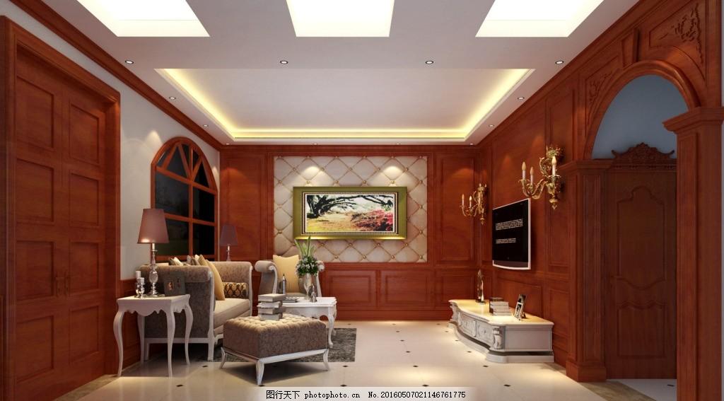 客厅 欧式 软包 挂画 护墙板 欧式效果图