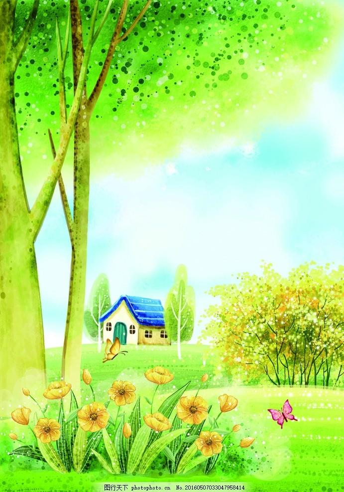 春天花园 花园 春天风景 花 蝴蝶 蜻蜓 自行车 草      本子 设计素材