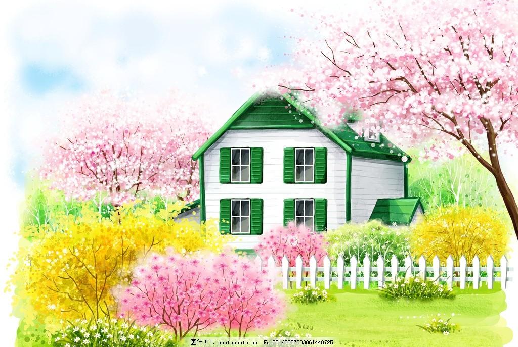 花园 樱花 树 房子 花 草 小清新 春天      本子 设计素材 设计 psd