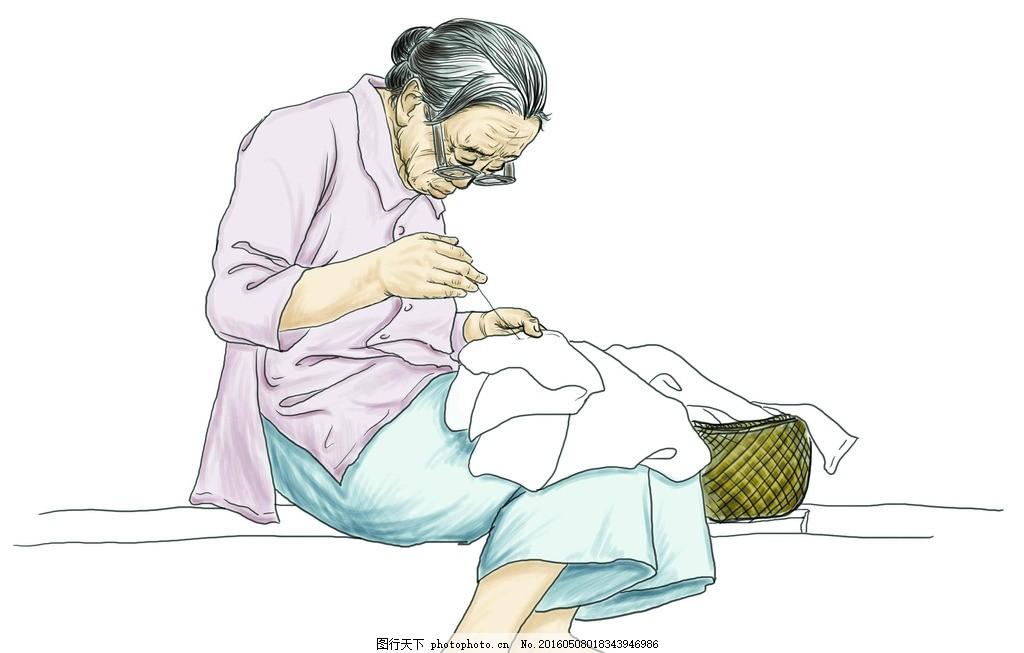 母亲节 母亲 漫画 素描 卡通画 缝衣服 亲情 设计之家 设计 动漫动画