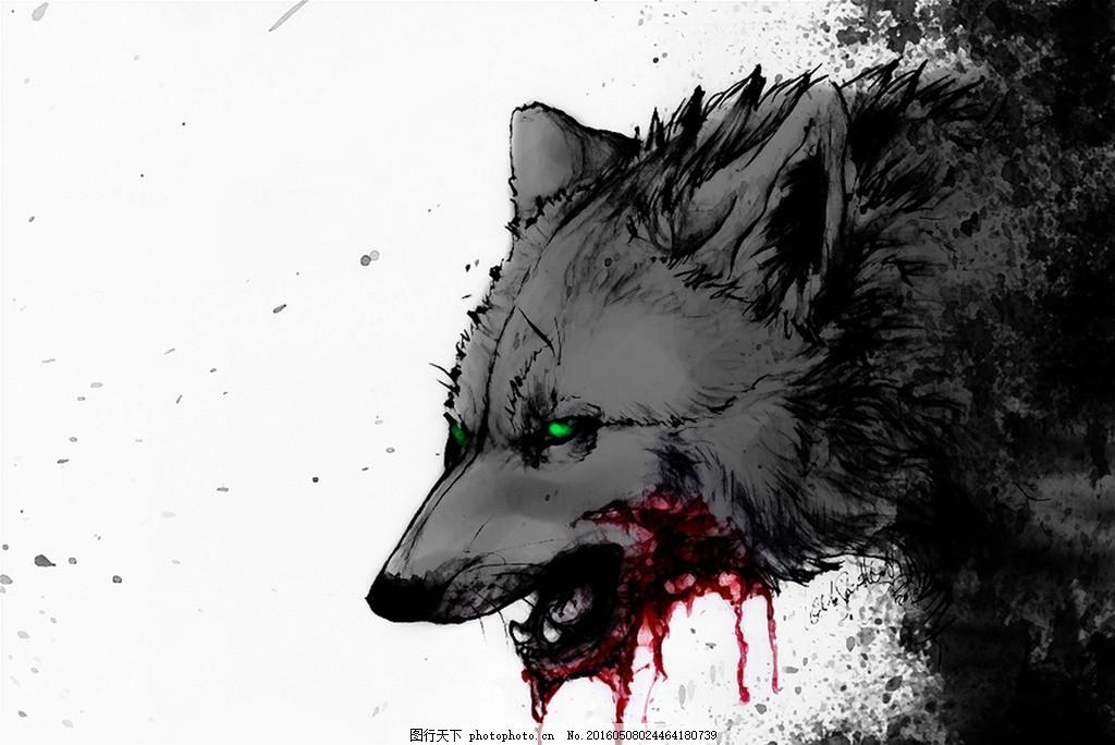 梦幻的狼族 摄影 狼 狼族 抽象 水彩画 背景 动物世界 设计 生物世界