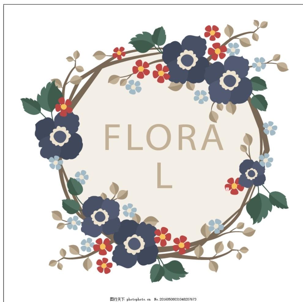 花圈装饰 花卉 手 饰品 自然 叶春 手绘 可爱的 叶子 植物