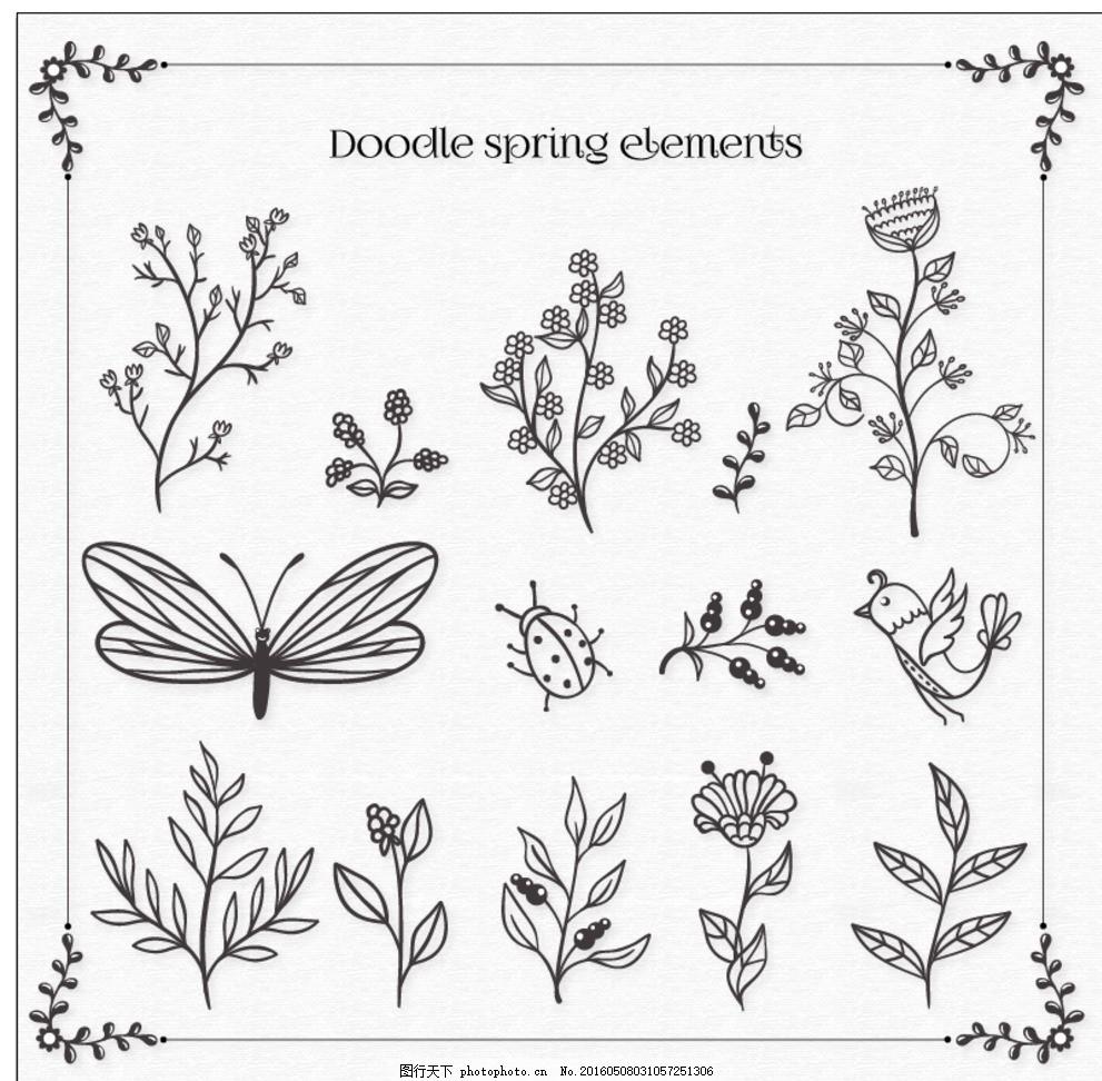 花卉 鲜花 手 自然 春天 手绘 动物 树叶 植物 绘画 涂鸦元素 开花 春