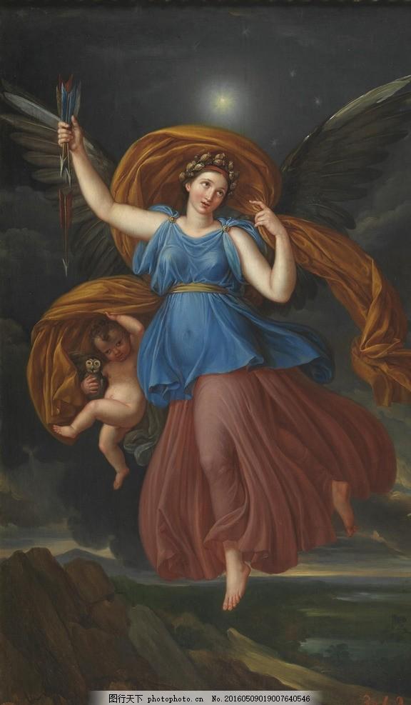 黎明女神奥罗拉 希腊神话 史神星 月亮 太阳神阿伯罗 正妻 古典油画图片