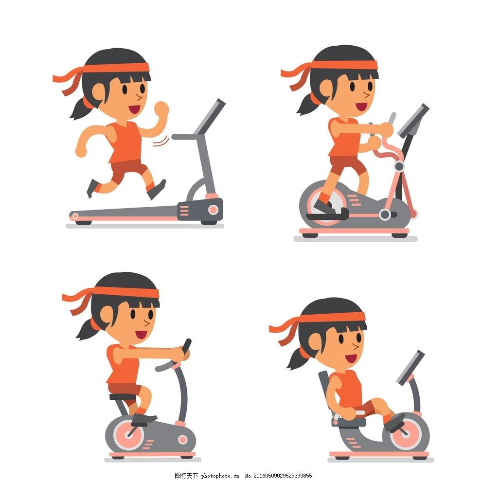 卡通健身女子 卡通健身美女 动感单车 女子健身 减肥 健康 健身会馆