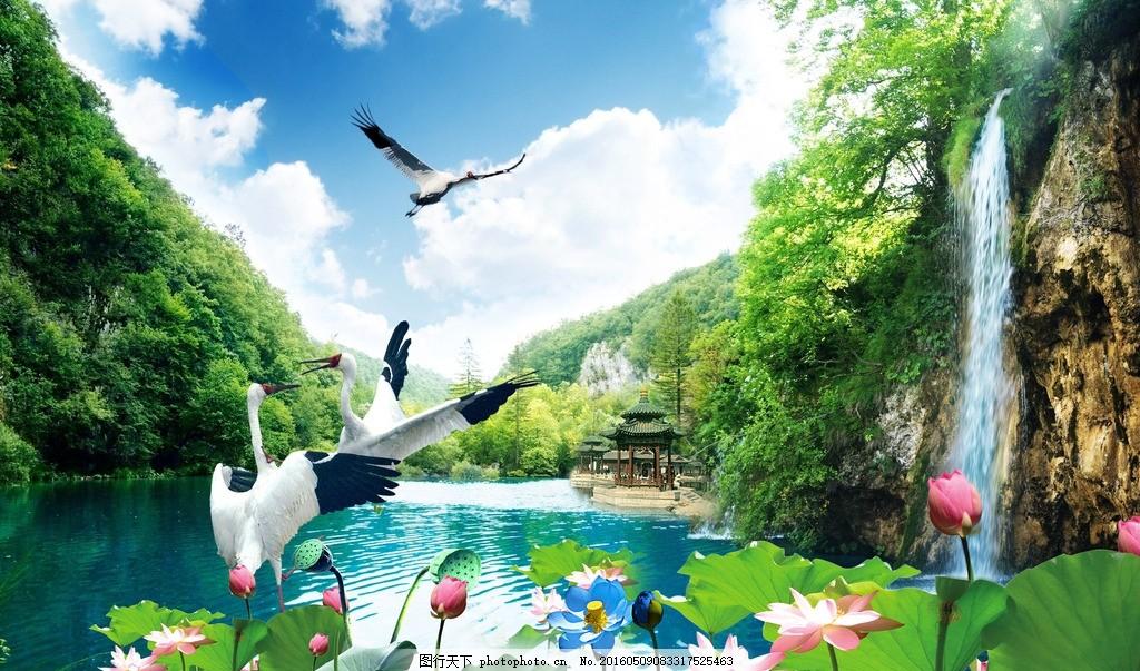 山水风景 白鹤 池塘 海报背景 荷花 自然景观 自然风光