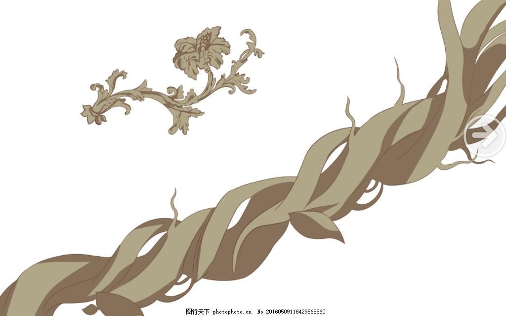 藤蔓 树枝 花朵 壁纸 墙绘 设计 底纹边框 背景底纹 350dpi psd