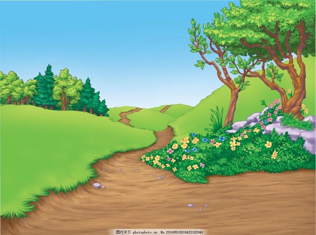 迪士尼背景 树 小花 迪士尼 草地 大树 设计 动漫动画 风景漫画 600dp