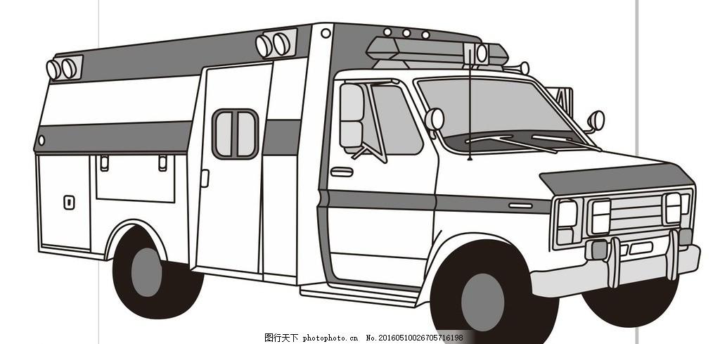 消防车 救护车 简单画 线条 线描 简笔画 黑白画 卡通 手绘 标志图标-简
