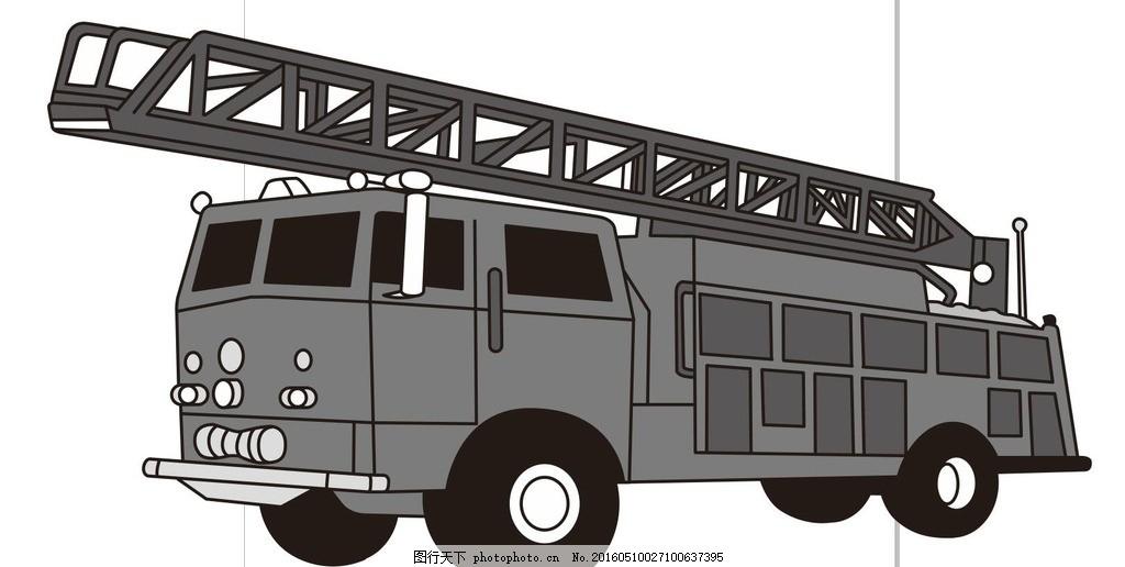 灭火车 消防车 简单画 线条 线描 简笔画 黑白画 手绘 简单手绘画