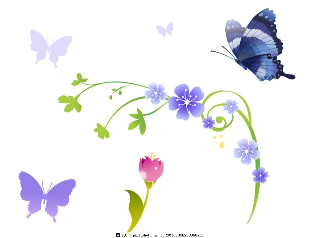花朵 时尚 潮流 唯美 清新 手绘花卉 花藤花边 鲜花花藤 矢量鲜花边框