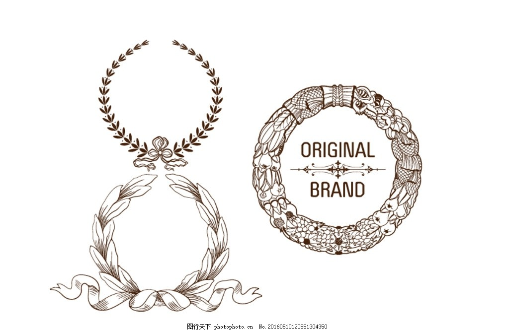 矢量素材 标志 素材 皇家 欧美 欧式 皇冠 徽章 臂章 边框 图标 麦穗
