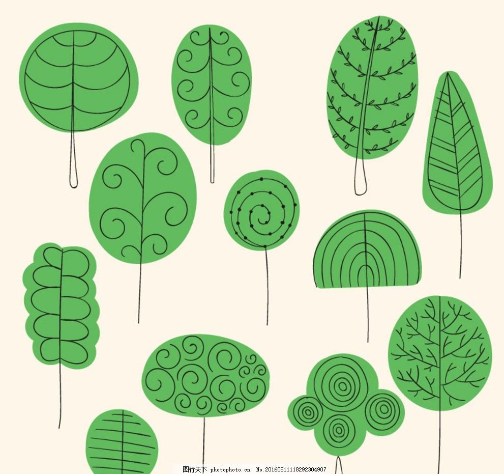 手绘树木 树木 卡通树木 手绘 cdr 矢量素材 矢量 cdr 树木图标 树木
