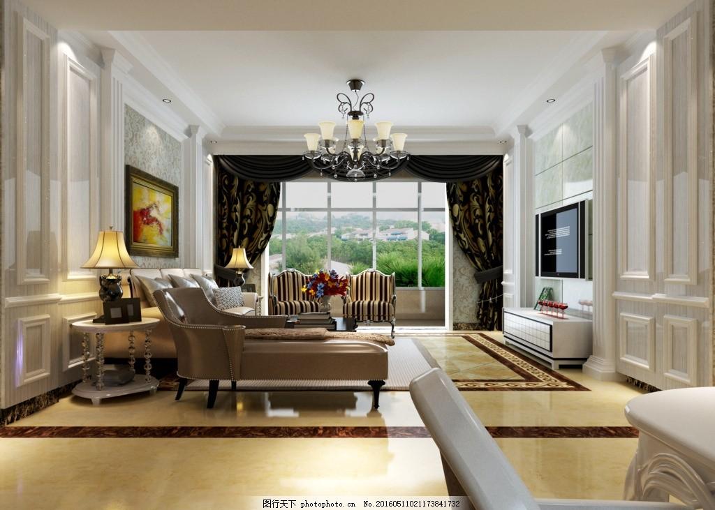 欧式 电视墙 吊灯     壁画 欧式效果图 设计 3d设计 3d作品 118
