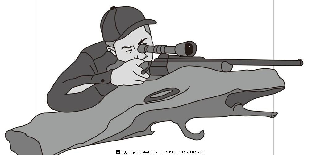 狙击手 军人 特种军 插画 简笔画 线条 线描 简画 黑白画 卡通 手绘