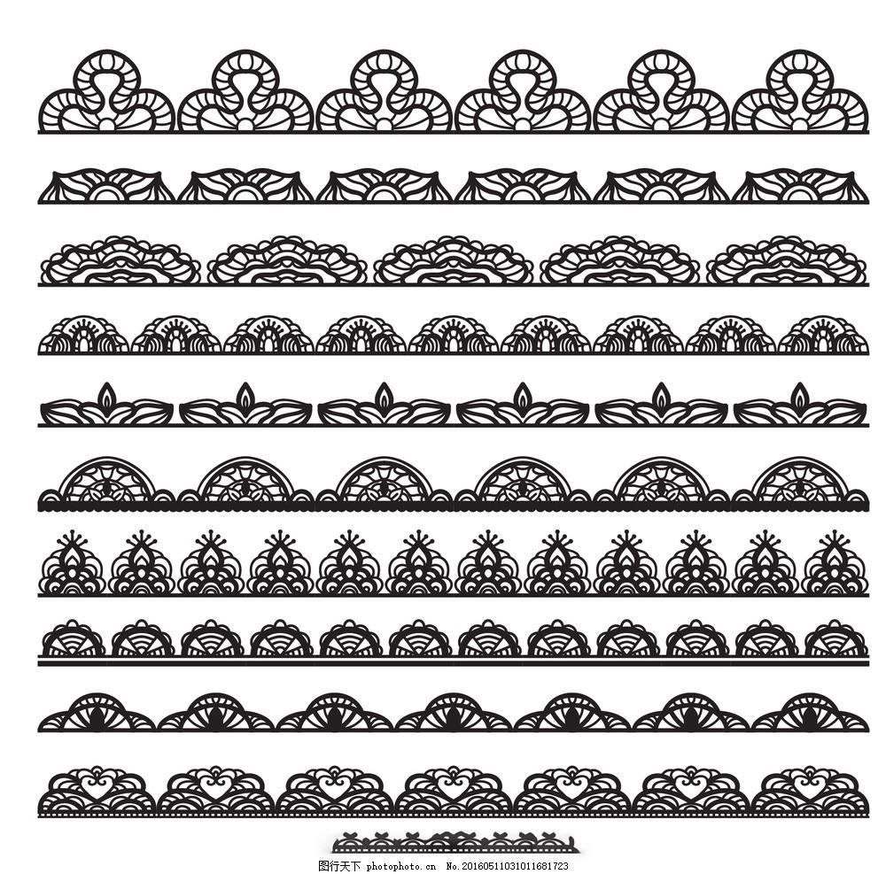 黑色蕾丝边框 花卉 抽象 手 饰品 花边 手绘 装饰 绘画 观赏